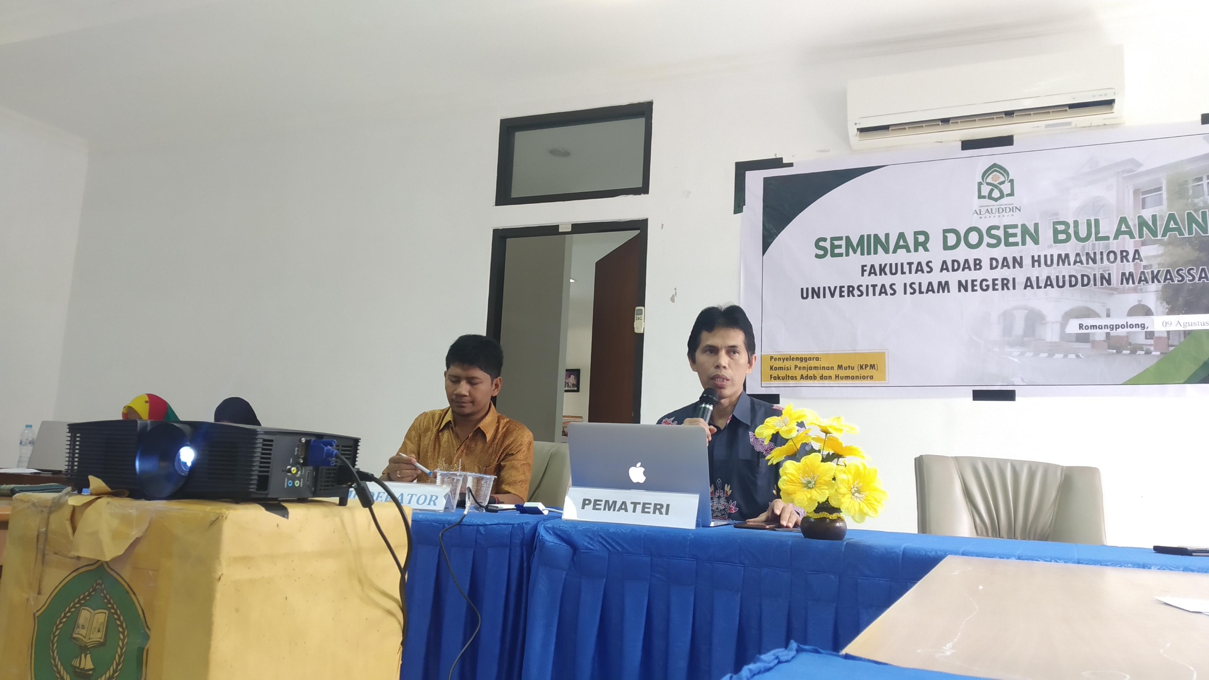 Seminar Epistemologi Islam oleh Dr. H. Barsihannor, M.Ag